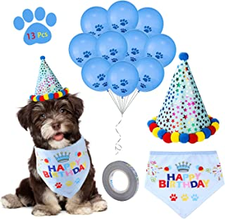D-buy 13 Pcs Dog Birthday Party Set -Dog Birthday Bandana Scarf, Cute Doggie Birthday Party Hat, 10 Paw Print Balloons and a roll of 400-inch silver ribbon-Great Birthday Party Supplies for Dogs, Pets