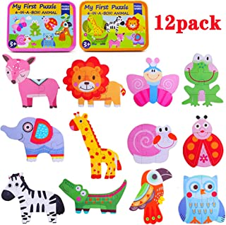Kolimix Shapes Puzzle Jigsaw for Toddlers Age 3+ Years Old, Animals Insects Colorful Patterns Sorting Games Kindergarten Preschool Montessori Educational Toys for Kids for Children Boys Girls 12 Pack