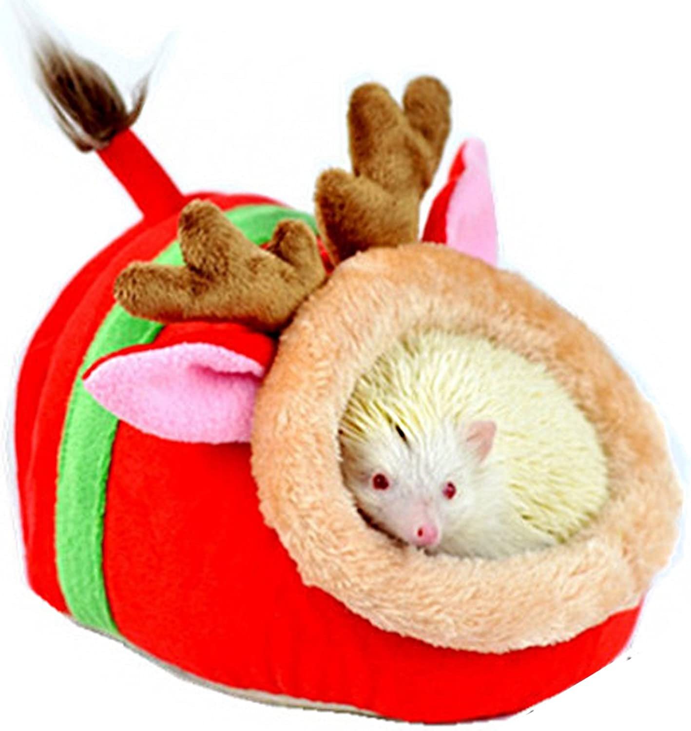 Alfie Pet  Jocelyn Sleeping Cave Bed for Small Animals Like Dwarf Hamster and Mouse  Pattern  Reindeer