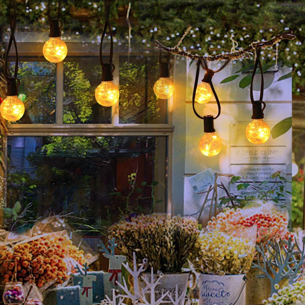 DeeCozy Luz de Cadena de Bombilla, 25 Bombillas Impermeable Blanco Cálido Ambiente Luces de Interior al Aire Libre para Patio Jardín Patio trasero Bistro Pérgola Tiendas Gazebo Decoración: Amazon.es: Iluminación