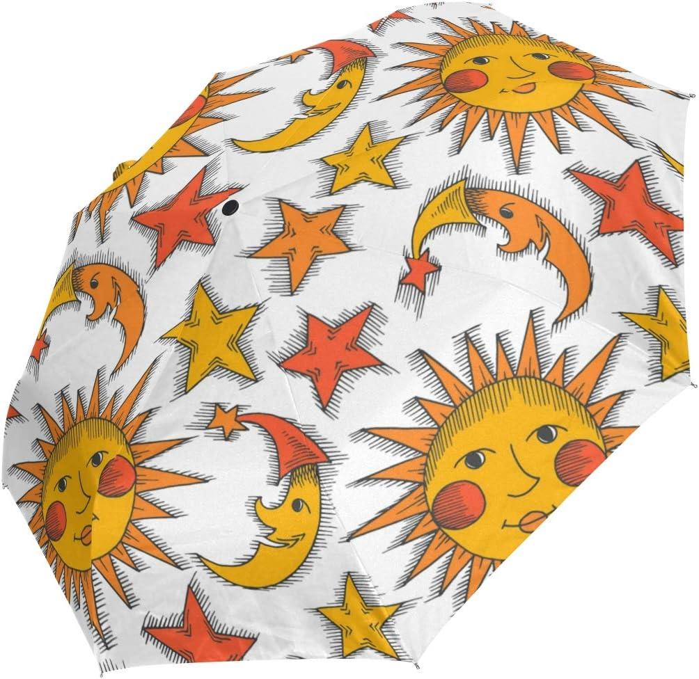 Auto Open Close Travel Umbrella Cartoon Folding Sun San Jose Mall Moon Star U Time sale