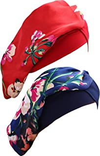 2 Pieces Women Satin Turban Elastic Sleeping Bonnet Silky Floral Night Hat for Women, 2 Colors (Royal Blue, Wine Red)