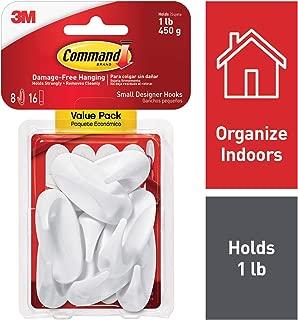 Command Hooks, Holds 1 lb, Indoor Use, Organize Damage-Free (17082-8ES)