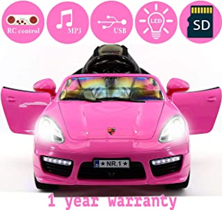 2018 PORSHE BOKSTER STYLE 12V ELECTRIC KIDS RIDE-ON CAR TOY WITH R/C PARENTAL REMOTE, LED WHEELS, REMOVABLE BABY TRAY TABLE, 5 POINT SAFETY HARNESS (1 YEAR WARRANTY)   PINK