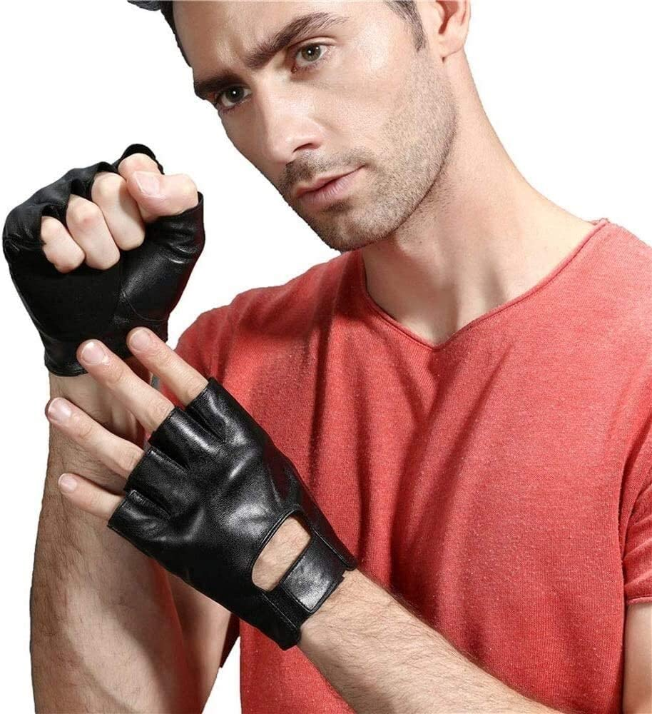 KEKEYANG Men's Sheepskin Summer Sports Breathable Half Finger Gloves Car Driving Non-Slip Fingerless Leather Gloves Thin Slip Wearable Breathable Motorcycle Black Brown Mitten Gloves Mittens