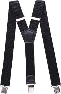JINIU Mens Suspenders Adjustable Elastic Y Shape Strong Clips Heavy Duty