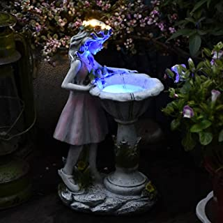 Miniature Bird Bath Garden Decor, Solar LED Fairy Statue with Glowing Corolla, 3 Flying Birds Figurines on Illuminate Bird...