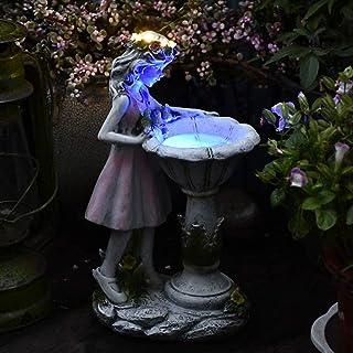 Miniature Bird Bath Garden Decor, Solar LED Fairy Statue with Glowing Corolla, 3 Flying Birds Figurines on Illuminate Bird...