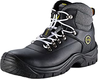 DDTX Ankle High Work Boots for Men Steel Toe Boots Black