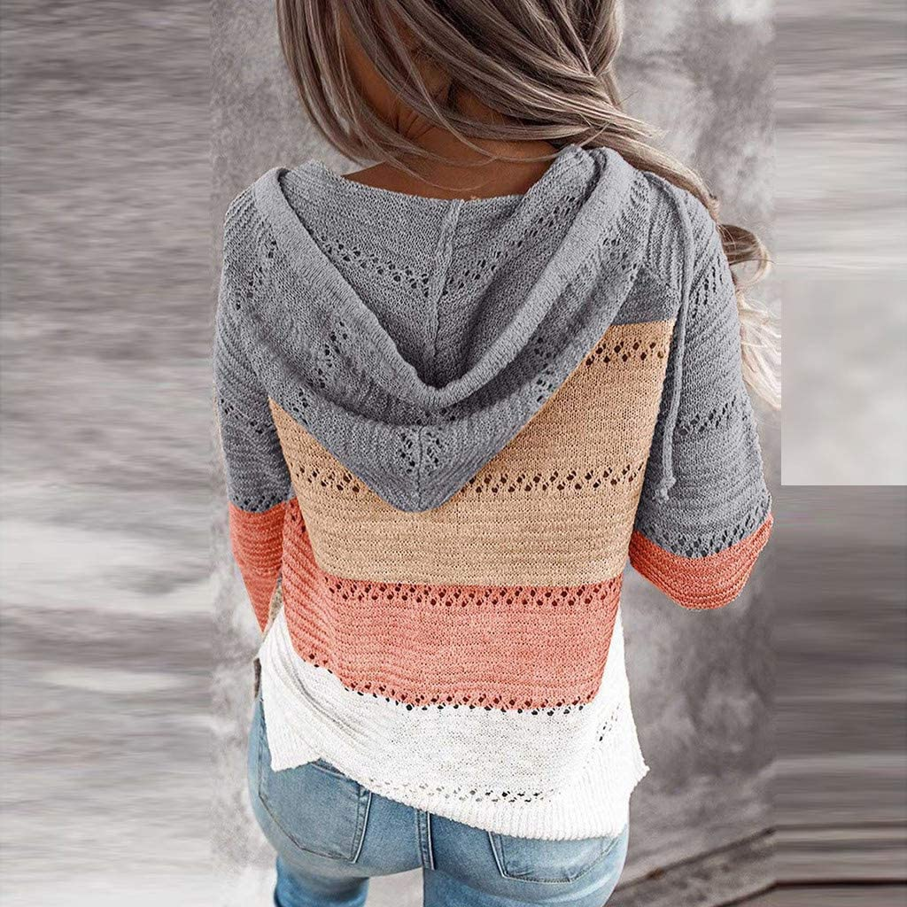 Hoodies for Women Pullover Lightweight Long Sleeve Loose Blouses Sweaters Casual Color Block Drawstring Sweatshirts Tops
