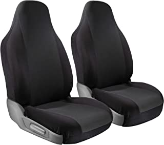 OxGord Car Seat Cover Protectors - Grip Control Non-Slip Poly Cloth with Two-Toned Front Low Bucket Seats Only - Universal Fit for Automotive Vehicles Cars, Trucks, SUVs, Vans -Black 2 Piece Set