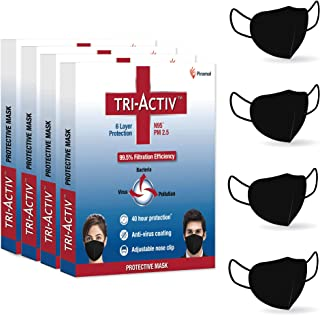 Tri-Activ 6 Layer Protective Face Masks, PM2.5 / N95 Tested as per NIOSH standard, Anti-Virus Coating, 99.5% Filtration Ef...