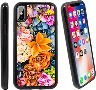 [Lily Floral Pattern] for Apple iPhone X/iPhone 1 (2017), Hybrid Heavy Duty Armor Shockproof Silicone Cover Rugged case