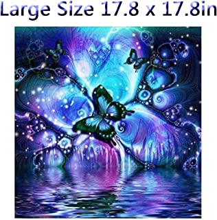 DIY 5D Diamond Painting Kits Full Kits, Astory Rhinestone Crystal Embroidery Pictures Cross Stitch for Home Room Decoration Butterfly 45 x 45 cm (17.8 x 17.8inch)