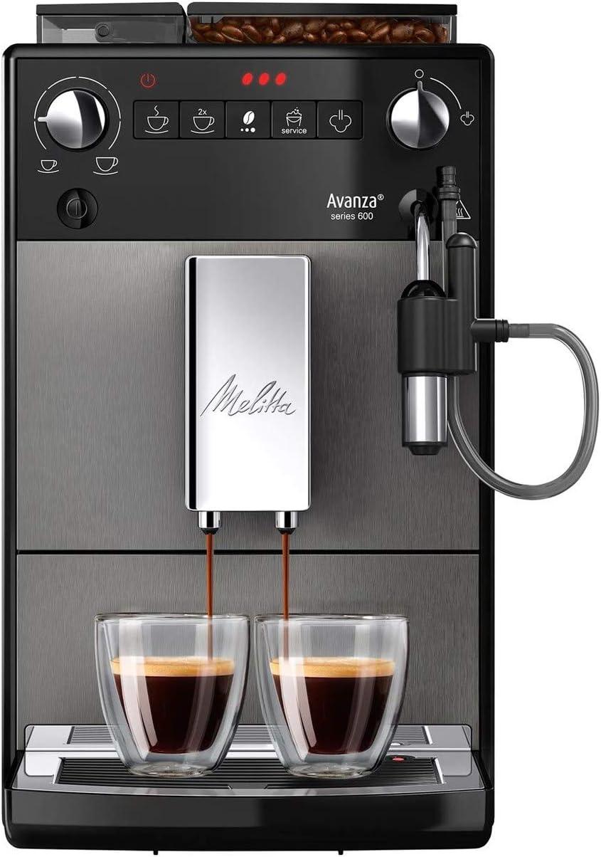 Melitta Avanza F270-100, Cafetera Automática con Molinillo Silencioso, Sistema de Leche, Depósitos XL, Limpieza Automática, Personalizable, Titanio