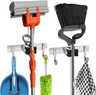 2 Pcs Broom Holder Wall Mount - Broom Mop Holder Wall Mounted - Broom Hanger with 1 Unit Clamps and 2 Utility Hooks for Storage, Closet - Broom Organizer Wall Mount - Broom Rack and Broom Organizer
