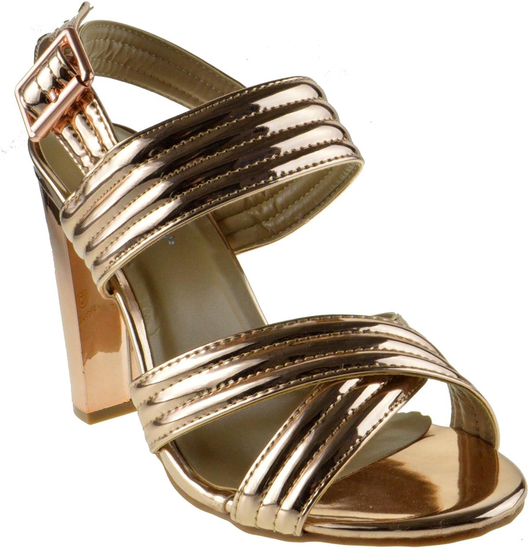 Shine 82 Womens Strappy Metallic Chunky Heel Peep Toe Crossed Sandals