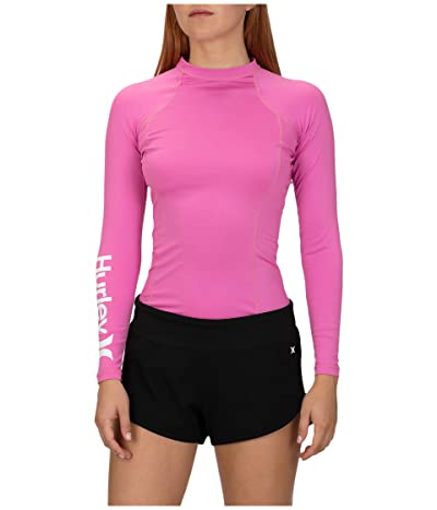 Hurley One and Only Long Sleeve Rashguard (China Rose/White) Women
