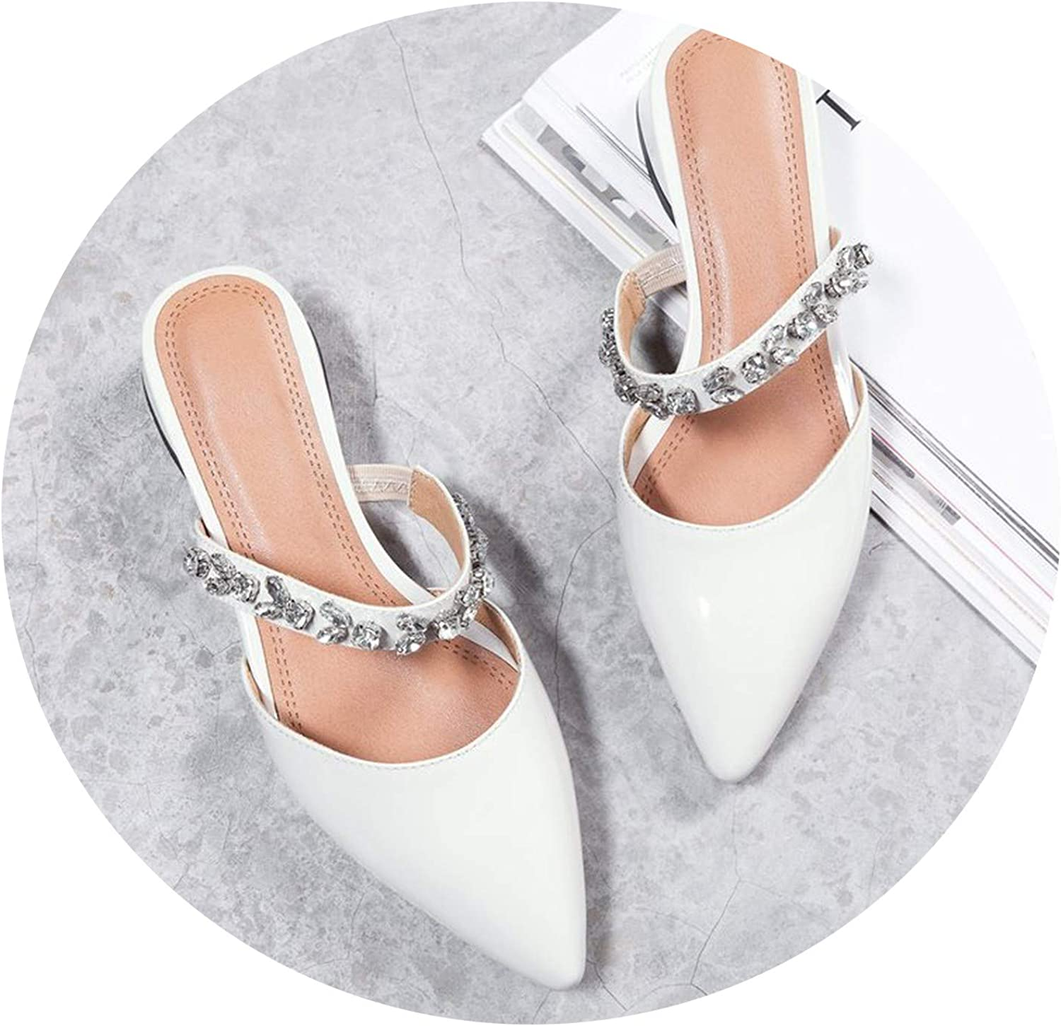 Crystal Patent Leather Pointed Slippers Fashion red Black Beige Outside 3cm Low Heels Woman Mules pu shoes