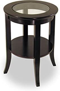 Genoa Round End Table with Glass Top, Espresso