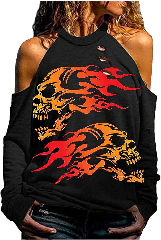 Pullover Sweatshirts for Women Aesthetic Halloween Skeleton Plus Size Long Sleeve Halter Neck Off Shoulder Shirts Top