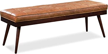 Poly and Bark Luca Leather Modern Bench Seat (Cognac Tan)