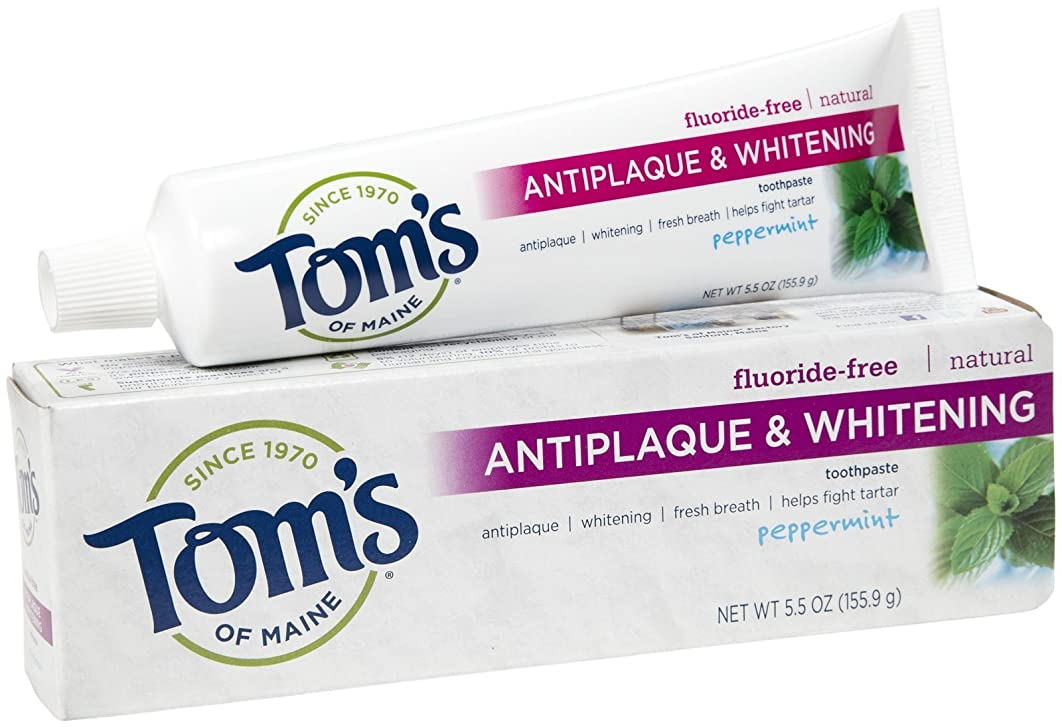 締め切り追う食事を調理する海外直送品 Tom's Of Maine Toms Of Maine Antiplaque And Whitening Natural Toothpaste Peppermint, Peppermint 5.5 Oz