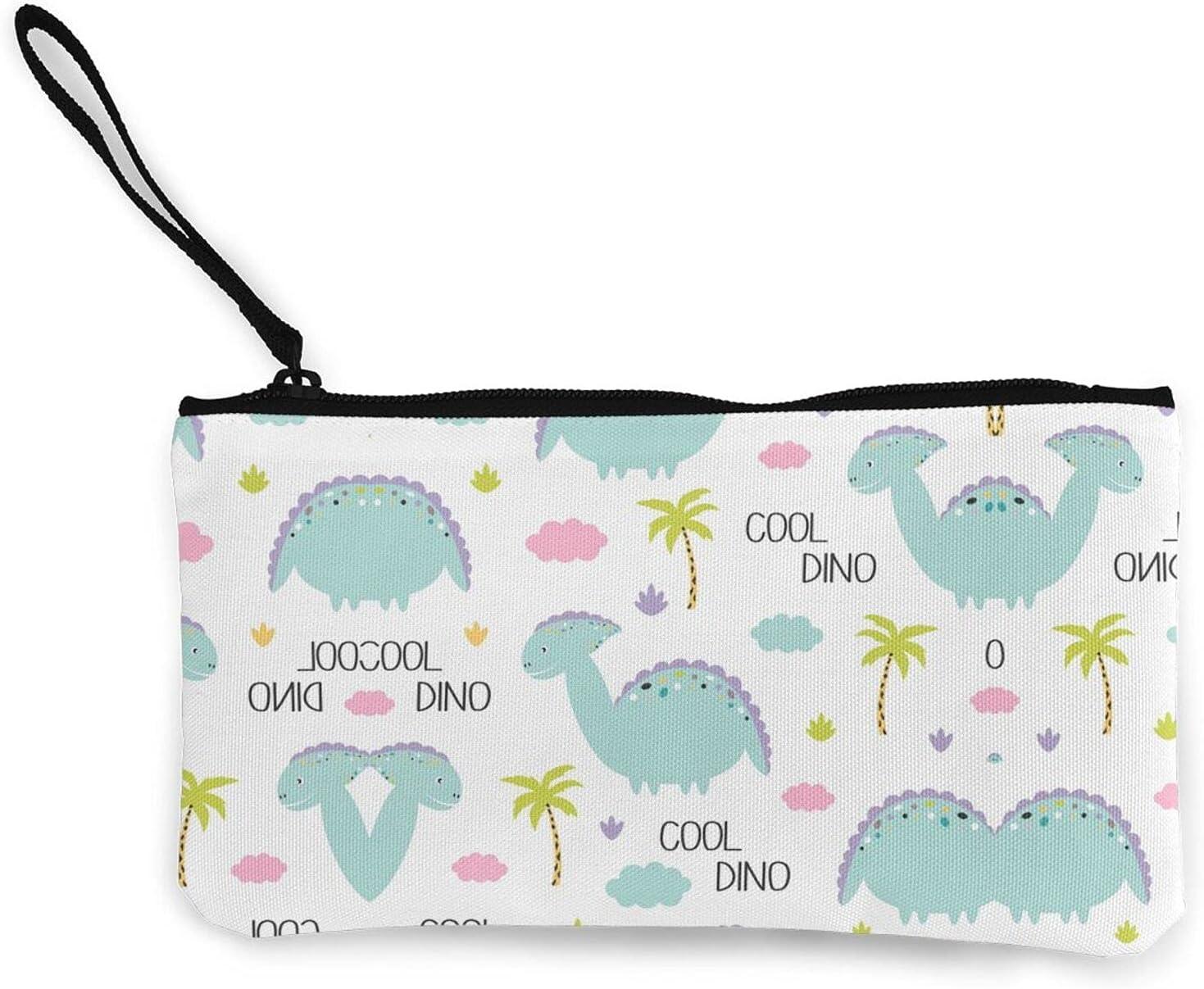 Cute Dino Dinosaurs Zipper Pouch/ Canvas Coin Purse Wallet/ Cute Mini Change Wallet For Women/ Pouch Card Holder Phone Storage Bag