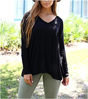 Women's Original Long Sleeve V-Neck Top-Black-medium