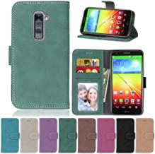 LG G2 Case,XYX [Green][Scrub Series] PU Leather Flip Folio Kickstand Wallet Case with Card Slots for LG G2 D800 D801 D802 LS980