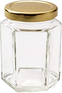 Nutley's 24 Hexagonal 8oz Jam Jars + gold lids + jam box + free fruity labels F3