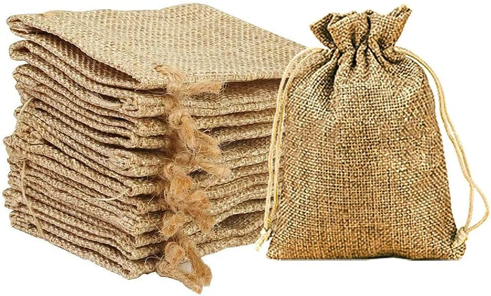 A set of small brown jute drawstring bags.