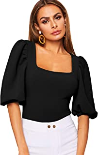 Romwe Women's Casual Puff Sleeve Square Neck Slim Fit Crop Tee Tops