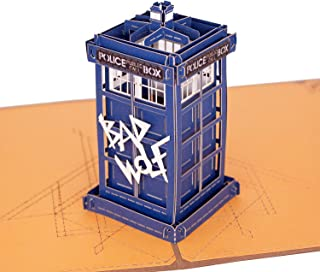 3D Pop Up Greeting Card for All Occasions - Bap Wolf - Police Box - Telephone Box - Folds Flat for Mailing - Birthday, Congrats, Graduation, Anniversary Bullet