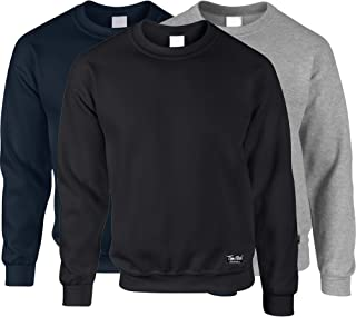 3 Pack of Plain Pullover Sweatshirt Sweater Jumper Top for Men and Women Blank