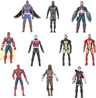 Avengers Superhero Action Figures Toys Set of 10 PCS 6.7 inch Iron Man, Hulk, Black Panther, Captain America, Spider Man, Ant Man, War Machine & Falcon