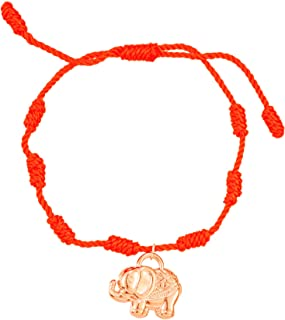 سوار عين شريرة للنساء من دولرينبوي، مصنوع يدويًا بـ 7 عقد بشريط يد على شكل فيل أحمر وأسود