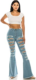 Aphrodite Flare Bell Bottom Jeans for Women - Super High Waisted Wide Leg Flare Bell Bottom Bootcut Stretch Jeans