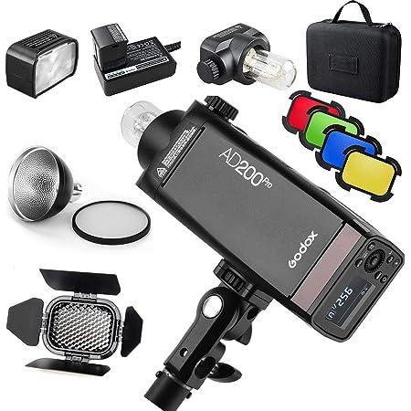 Godox AD200 Pro Version, 200Ws 2.4G Flash, 1/8000 HSS, 500 Flashes a Plena Potencia, 0.01-2.1s Recycling, Tiempo de Reciclaje para DSLR cámara con Kit BD-07 Barndoor y difusor