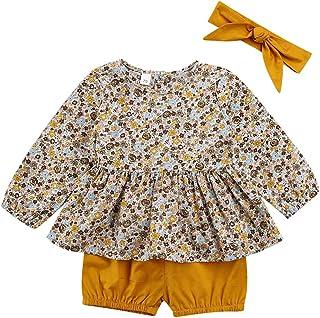 Geagodelia, Juego de 3 piezas de ropa de bebé amarillo con vestido floral de manga larga + calcetines + banda con lazo de 0 – 18 meses