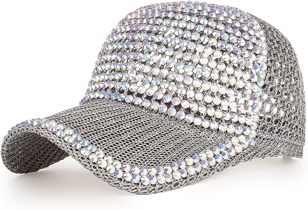 Women Men Studded Rhinestone Crystals Adjustable Ponytail Mesh Baseball Cap Shiny Bling Casual Sports Cap Breathable Sun Hat