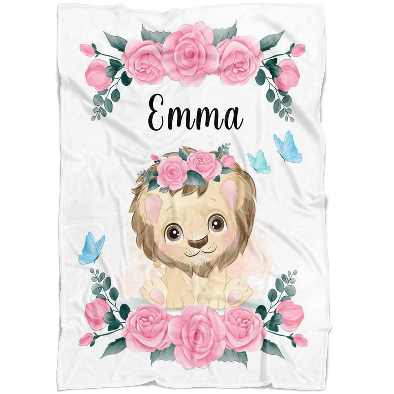 Pink Lion Custom Baby Name Blanket Girl Floral for To Store Under blast sales Rose