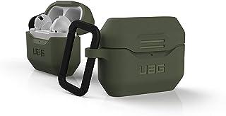 Urban Armor Gear Silikon Hülle Apple Airpods Pro Schutzhülle (Einteiliges Case, Wireless Charging kompatibel, Karabinerhaken und Lightning Anschluss Abdeckung, Texturiertes Silikon) Olive