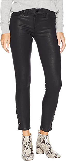 Nico Mid-Rise Crop Skinny Jeans with Grommet Detail in Black Wax