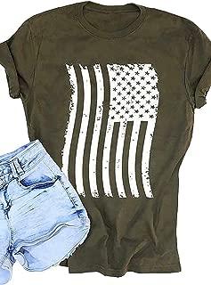 Women American Flag Print T-Shirt 4th of July Star Stripe Short Sleeve Graphic Tees Tops