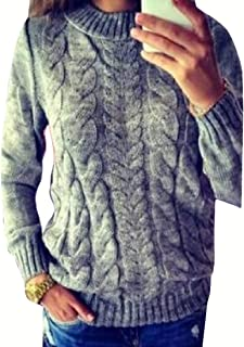 Womens Fashion Casual Round Neck Pullover Warm Long Sleeve Slim Fit Twist Knitted Short Jumper Sweater