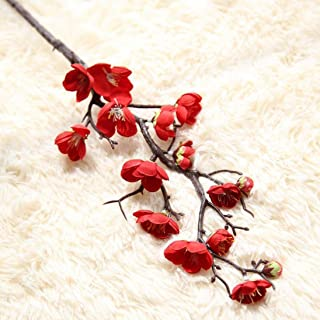 NXDA Artificial Flowers, 1 Piece of Plum Blossom Fake Silk Plastic Flowers for Home Floor Garden Office Wedding Decor (Red)