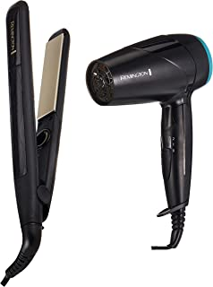 Remington RES3500 + RES3500 Ceramic Slim Straightener 230 4X Protection + On The Go Compact Dryer 2000W, Black