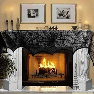 AerWo Halloween Decoration Black Lace Spiderweb Fireplace...