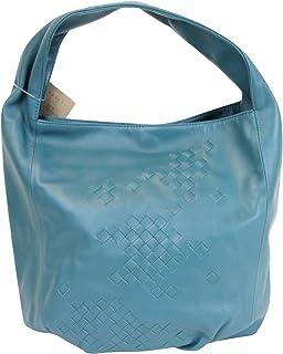 b55607efdae3 Bottega Veneta Hobo Blue Leather Bag With Woven Detail 176976 4403
